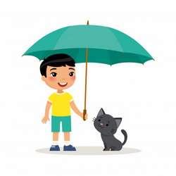 Добрый мальчик и котенок
